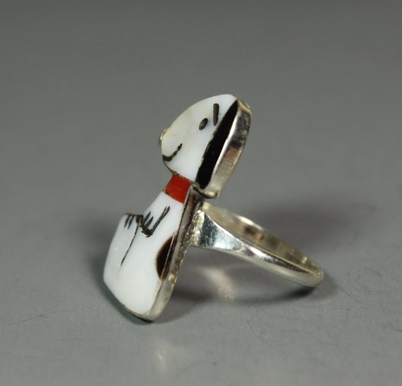 Zuni Snoopy Ring size 7 MOP Coral Shenel Comosona… - image 3