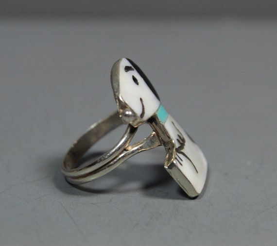 Zuni Snoopy Ring size 6-1/2 MOP Turquoise Shenel … - image 3