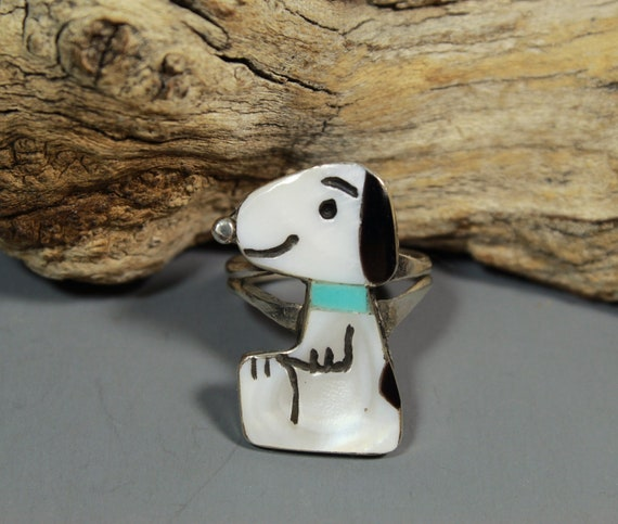 Zuni Snoopy Ring size 6-1/2 MOP Turquoise Shenel … - image 2