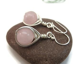 Rose quartz earrings - sterling silver wire wrapped gemstone earrings - pink earrings - wire wrapped earrings