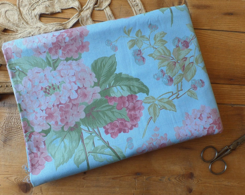 Vintage French cotton fabric  Flowers Hydrangeas Patterns  BluePink  Spring colors Large piece