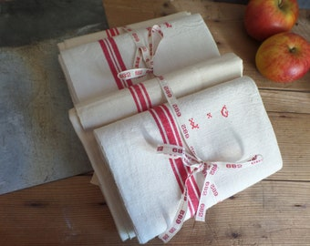 Vintage FRENCH unused monogram linen tea towel  EL or LG Kitchen cloth