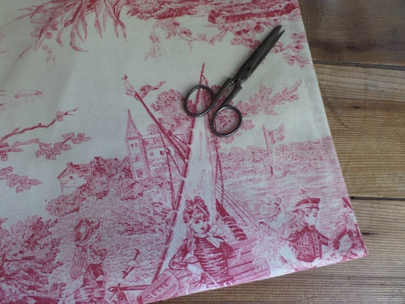 Price per 1//2 metre Toile De Jouy Natural Cotton Linen Fabric