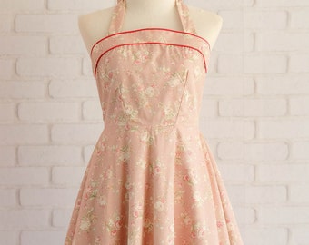 pink bridesmaid dresses floral bridesmaid dresses halter party dress Floral dress pink dress floral party dress halter dress