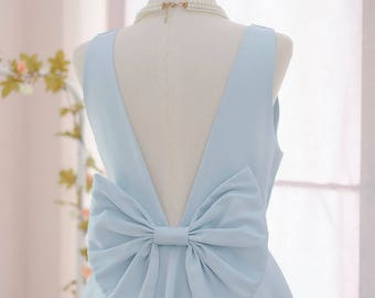 SALE Medium size blue bridesmaid dresses Serenity blue backless dress bow back dress Satin party dress blue party dress prom dress serenity