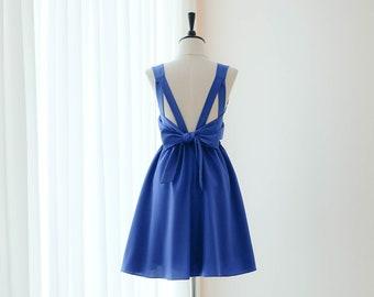 8157412477 Royal bleu indigo demoiselle d'honneur robe robe de bal de mariage robe de  soirée Cocktail robe robe de soirée dos nu noeud