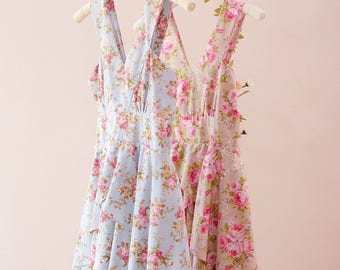 SALE Floral dress floral bridesmaid dress Vintage floral party dress country prom dress spring summer sundress short party dress