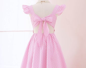pink bridesmaid dresses vintage bridesmaid dresses Pink dress pink party dress pink plaid dress vintage inspired dress pink prom dress