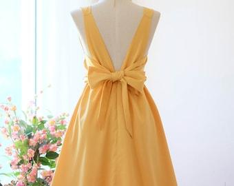 ef43e236e3b8 Light Mustard dress mustard Bridesmaid dress Wedding Prom dress Cocktail  Party dress Evening dress Backless bow dress