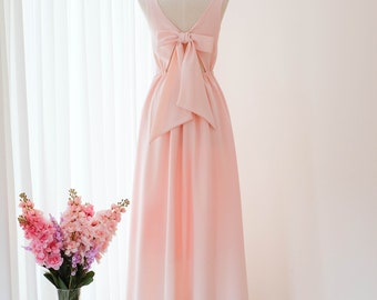37124bc6acc Pink blush dress Long Bridesmaid dress Wedding Dress Long Prom dress Party  dress Cocktail dress Maxi dress Evening Gown