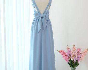 Brautjungfer Lange Hochzeit PromEtsy Kleid Lang Blau Grau K1lFcTJ