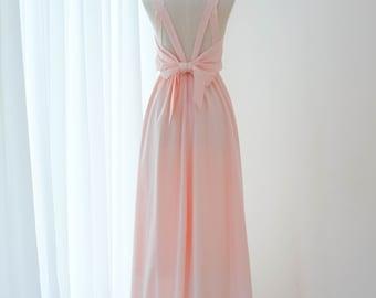e1987e2828 Pink blush dress Pink dress Long Bridesmaid dress Wedding Dress Long Prom  dress Party dress Cocktail dress Maxi dress Evening Gown