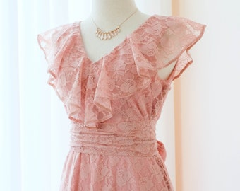 c847946a5814 Pink dress Pink lace Dress Nude Pink Long bridesmaid dress Lace prom dress  party dress cocktail floor length dress Wedding Dress Gown