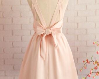 d9d12568d1 Blush pink Dress Pink Bridesmaid dress Wedding Prom dress Cocktail Party dress  Evening dress Backless bow dress
