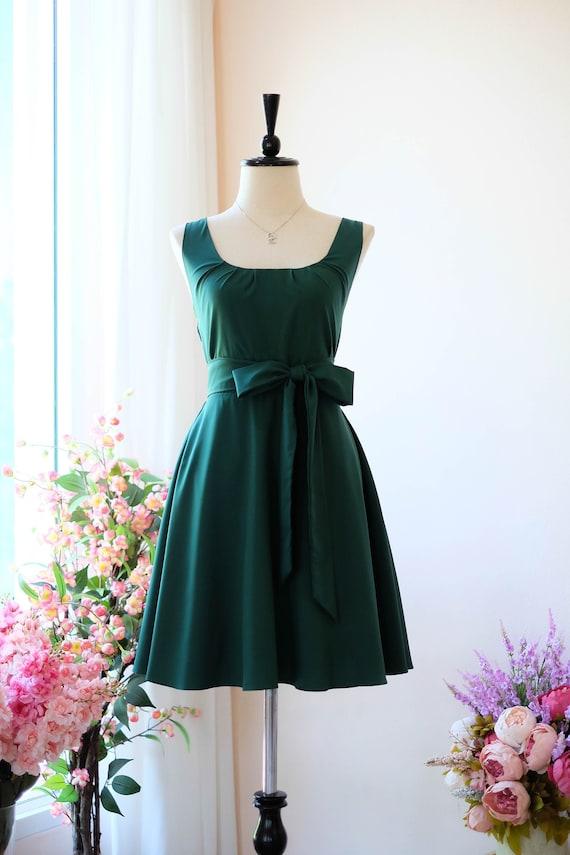 Christmas Green Dress.Forest Green Dress Dark Green Bridesmaid Dress Tea Party Dress Christmas Dress Party Wedding Guest Dress Vintage Dress Casual Sundress
