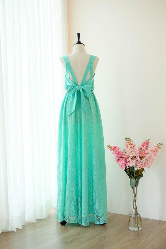 Betere Mint groene jurk lange bruidsmeisje jurk kant trouwjurk lange   Etsy CS-93