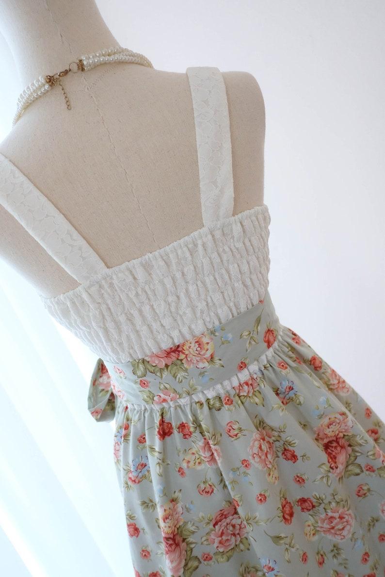 SALE Blue floral dress blue sundress blue dress spring summer dress Tea party dress vintage dress style SMALL