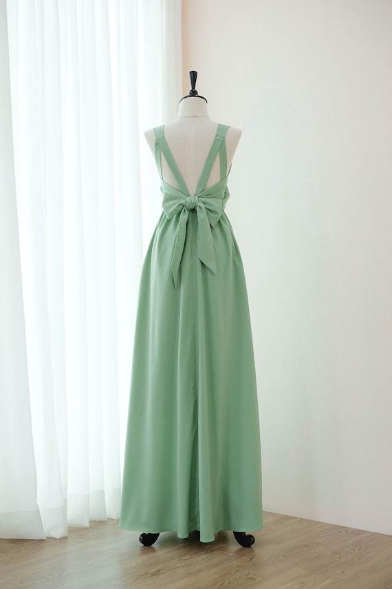 Salbei grün lange Brautjungfer Kleid Hochzeit Kleid lang Prom   Etsy 443d632480