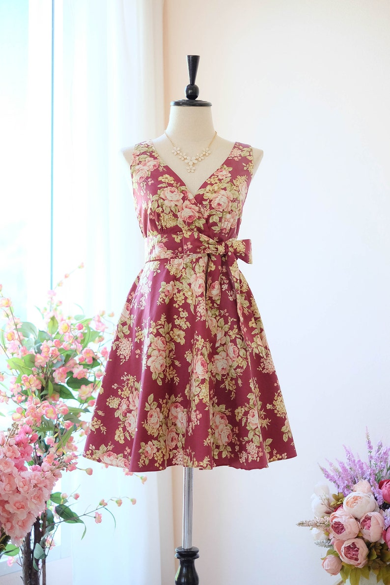 4b6848ee69a Red dress Dark red floral dress vintage bridesmaid dress party