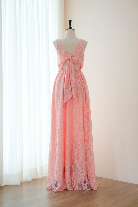 Rosa Kleid Spitze Rosa lange Brautjungfer Hochzeit Kleid lang   Etsy bb0673fbcb
