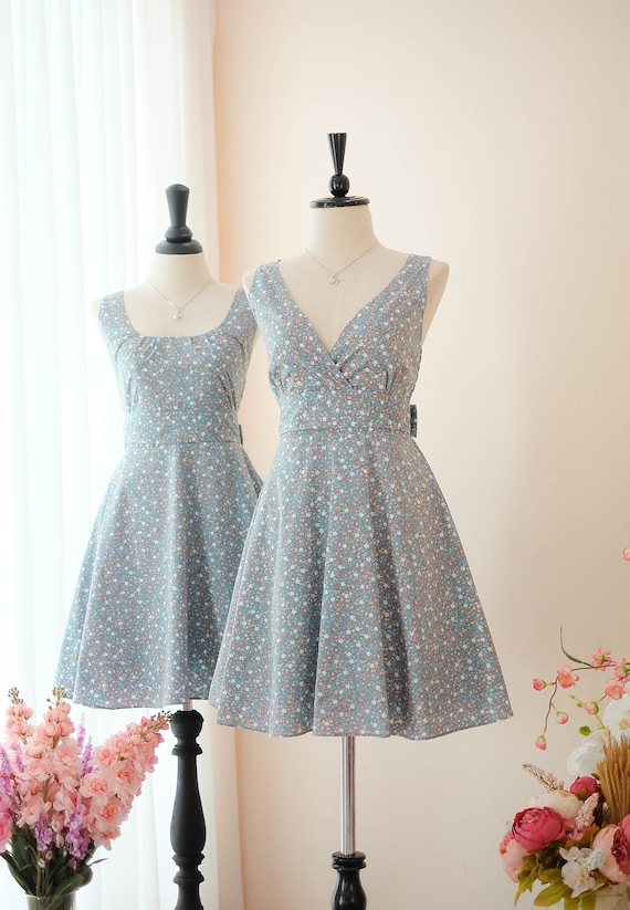 fcdee77bbc72 Dusty blue dress Bridesmaid dress Floral dress Vintage dress