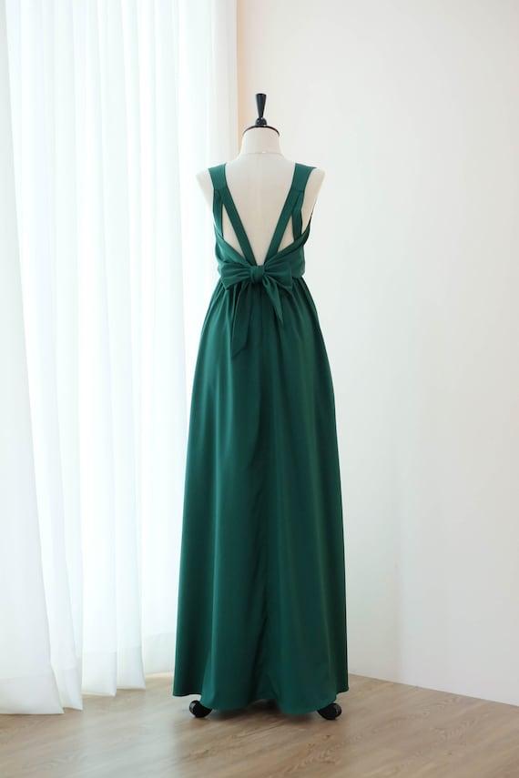 Dark forest green dress Green Women formal evening prom dress | Etsy