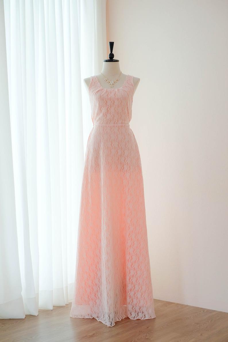 016de0ea4641 Vestito rosa rosa pizzo lungo Bridesmaid dress abito sposa