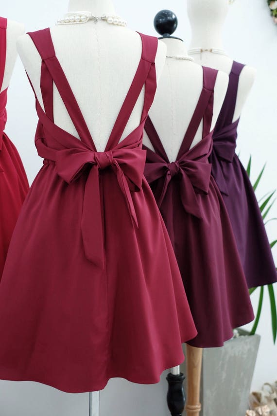 Dark Red Dress Red Burgundy Bridesmaid Dresses Prom Dress Etsy