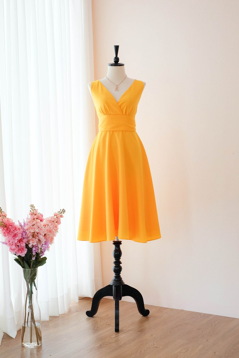 ac4ef4847955 Gold Yellow dress yellow bridesmaid dresses Yellow Mid length