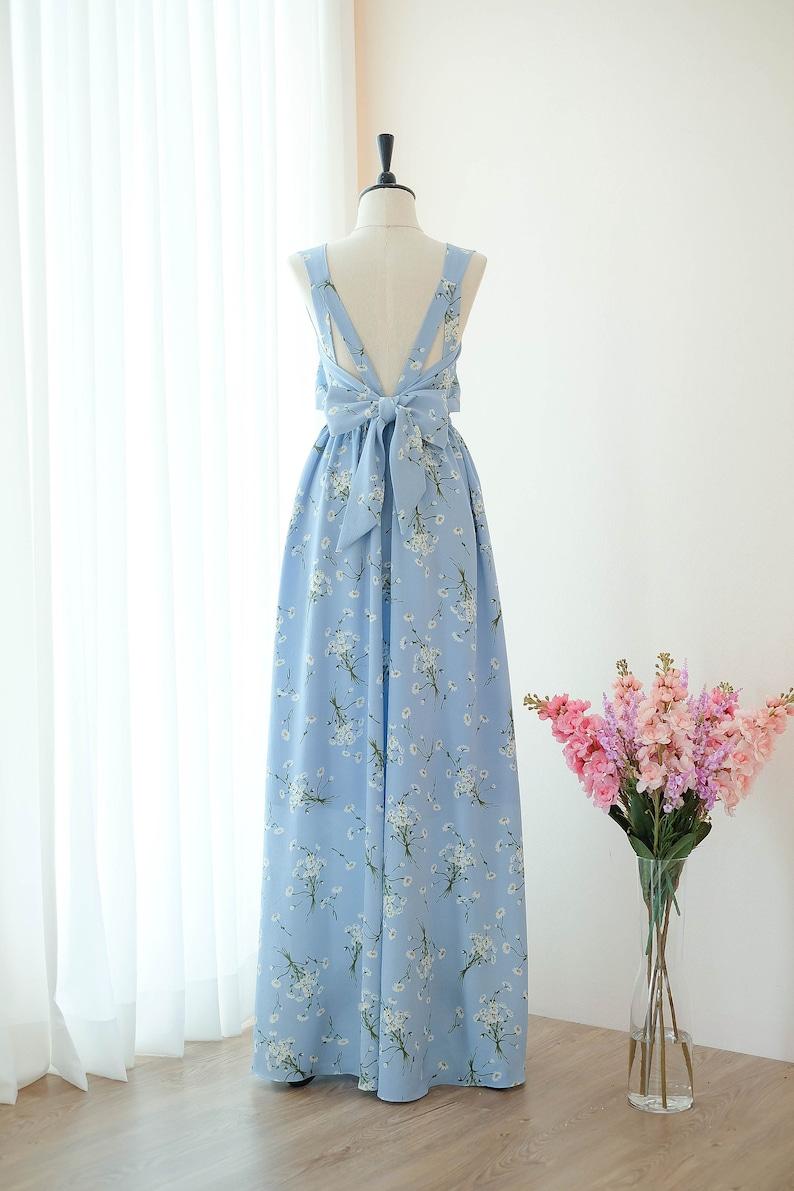 Blue Dress Blue Floral Long Bridesmaid Dress Wedding Dress Etsy