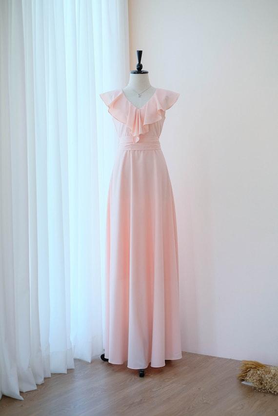 seleziona per originale bambino nuovo arrivo Vestito rosa blush rosa lunghi abiti da Damigella Blush rosa matrimonio  vestito prom partito abito Maxi abito da Cocktail da sera abito da ballo