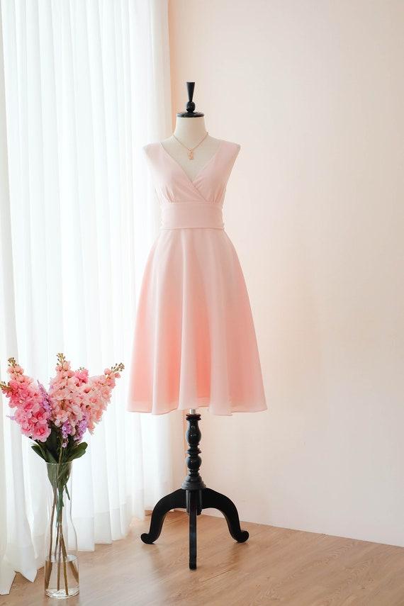 Blush pink dress Pink bridesmaid dresses Knee Length pink dress party prom dress vintage cocktail evening dress