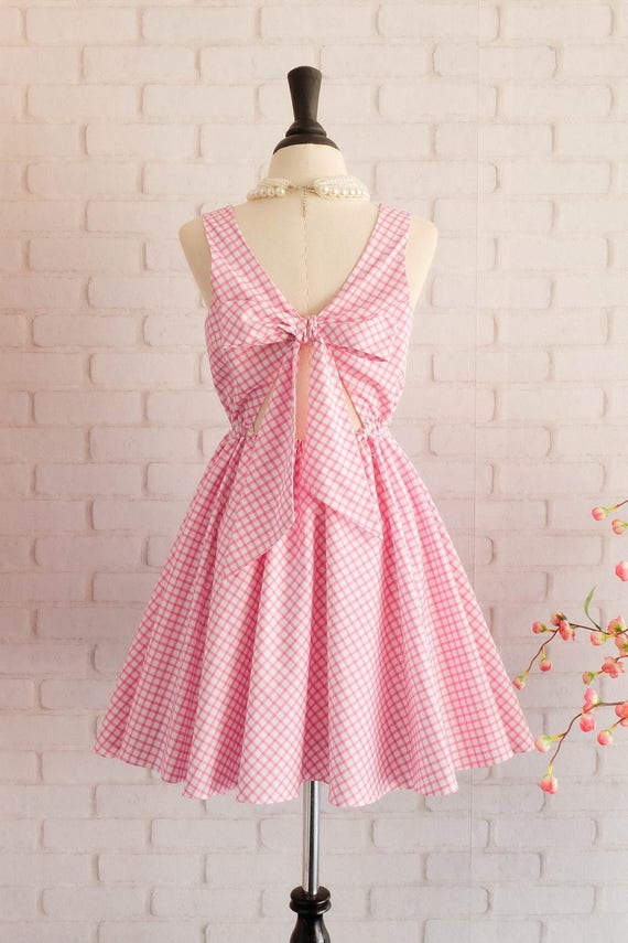 Vintage prom dress pink bridesmaid dress pink party dress