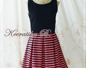 Last Piece SALE - Lady Moment Dress - Gorgeous Simply Trimmed Lady Dress Black Top Striped Skirt Wedding Party Cocktail Dinner Night Dress