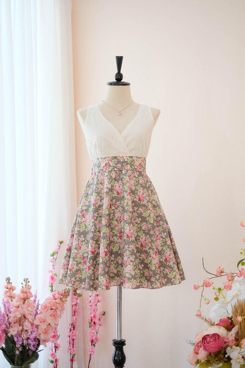 c9cc733ae467 Gray dress Bridesmaid dress Floral dress Vintage dress Country