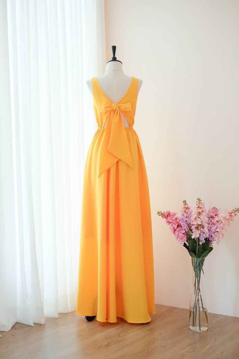 Gelbe lange Brautjungfer Kleid Hochzeit Kleid lang Prom Kleid Party  Cocktail-Kleid Maxi Kleid Abendkleid
