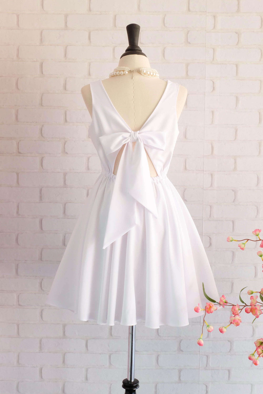 Weiße Brautjungfer Kleid weiß Abschlussball Kleid Schleife