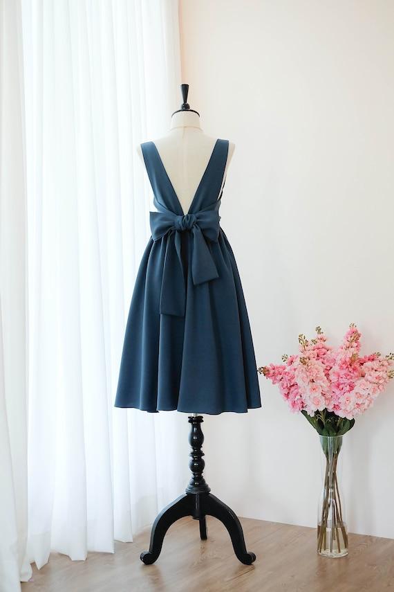 Dark Blue Dress Blue Bridesmaid Dress Prom Dress Wedding Dress Etsy
