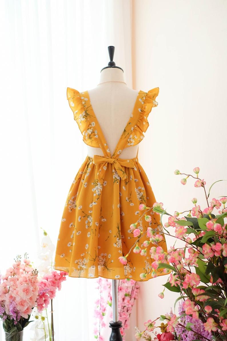 a2339663b7a Mustard floral Suspender skirt Spring Summer dresses Beach