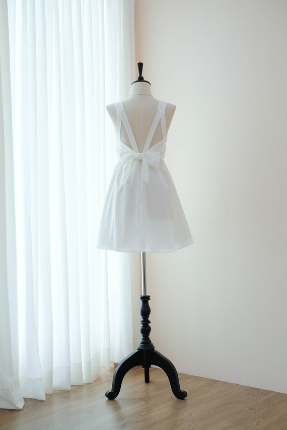 Off White prom dress bridesmaid white dress backless party