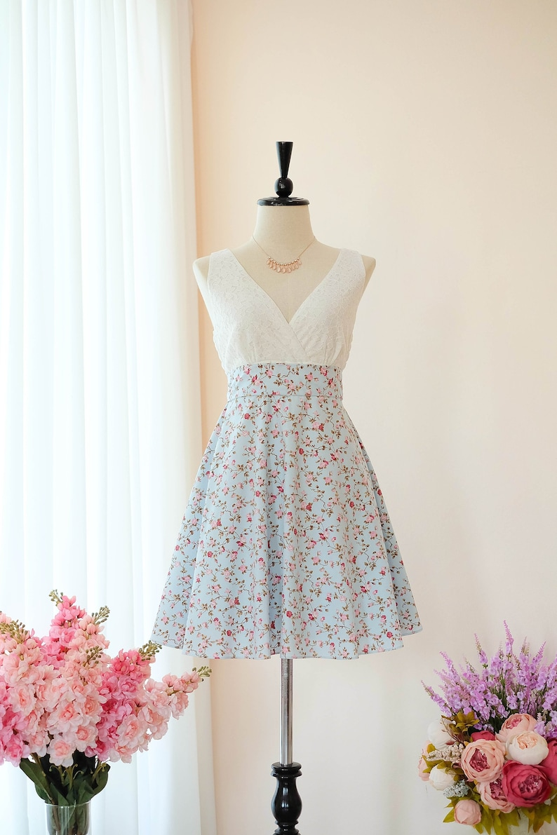 f98c65db993 Blue dress Bridesmaid dress Floral dress Vintage dress Country