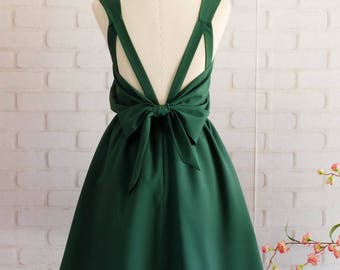 Forest green bridesmaid dress Backless party dress bow back cocktail dress prom party short dress pleated skirt dress