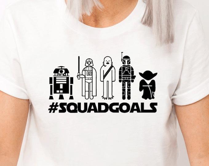 Star Wars Squad Goals Toons, Disney Star Wars, Darth Vader Yoda Storm Trooper Boba Fett Chewbacca, Disney Shirts, Adult Youth Toddler