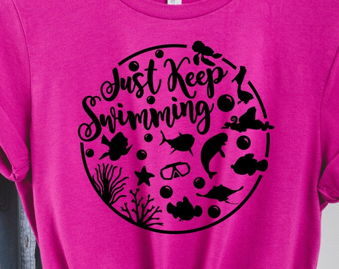 Just Keep Swimming - Finding Nemo - Dory -Nemo - Marlin - Magical Vacation Tee - Adult, Youth, Toddler, and Tanks, Tie-Dye