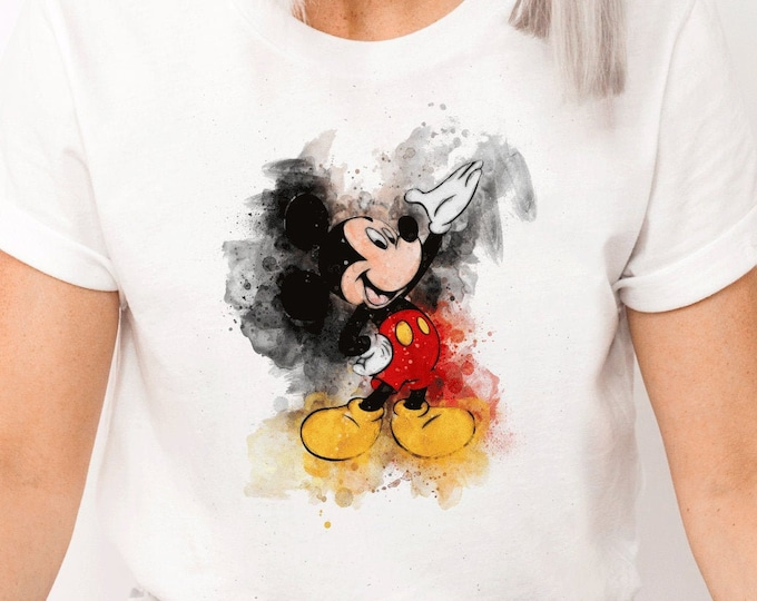 Disney Original Mickey Watercolor, Magic Kingdom, My First Disney Trip, Shirt for Kids Him Her, All Things Disney, Sublimation Full Color