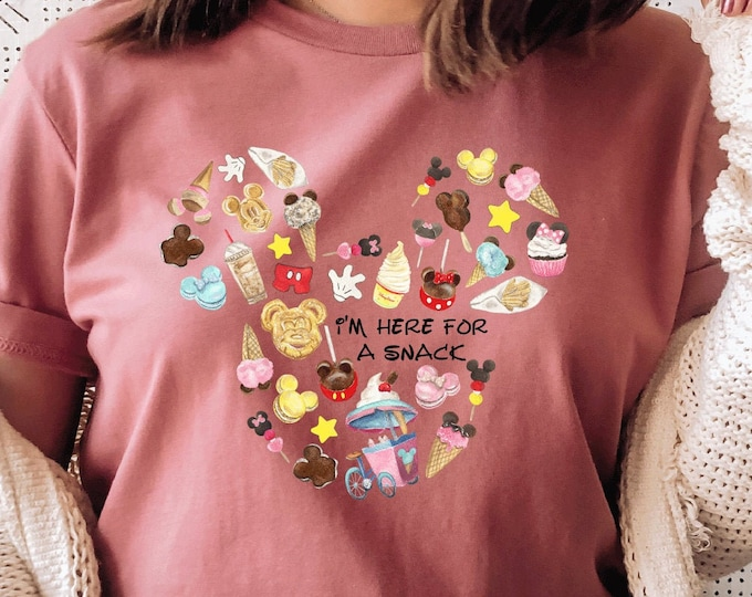 Disney Mickey Ears, Snacks Dole Whip Macaron Ice Cream Sandwich Pretzel, Shirt for Kids Him Her, All Things Disney, Sublimation Full Color