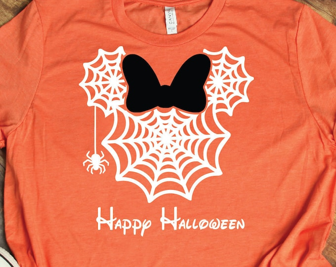 Minnie Spider Web - Disney Halloween - Minnie Halloween Shirt - Magical Vacation Tee - Adult, Youth, Toddler, and Tanks, Tie-Dye