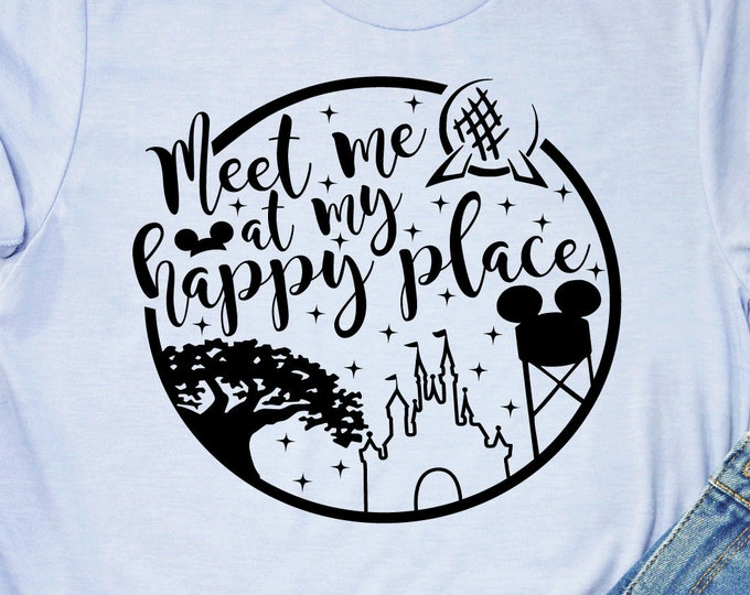 Meet Me at My Happy Place - Magic Kingdom - Magic Castle -  Magical Vacation Tee - Adult, Youth, Toddler, and Tanks, Tie-Dye