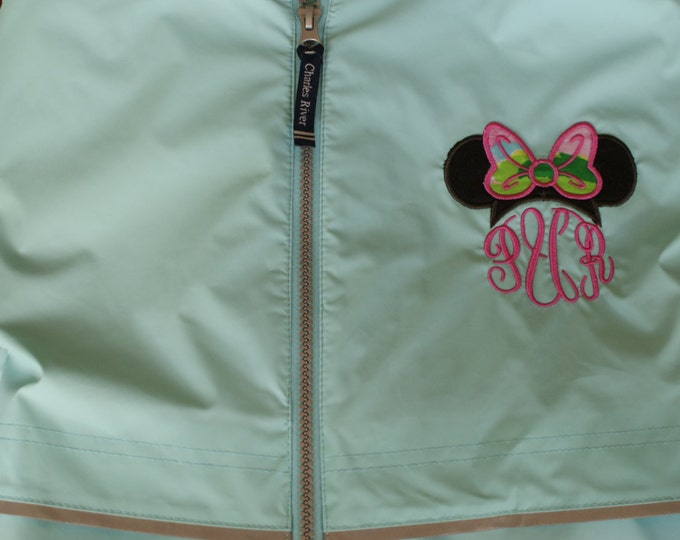 Minnie ears and Lilly Pulitzer monogrammed Charles River Rain Coat