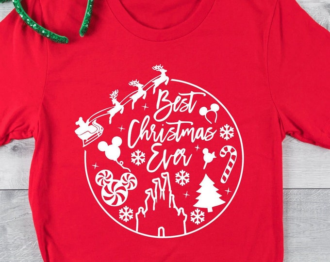 Best Christmas Ever- Disney Christmas  - Santa at Disney - Christmas At Disney -  Magical Vacation Tee - Adult and Youth sizes, Tie-Dye